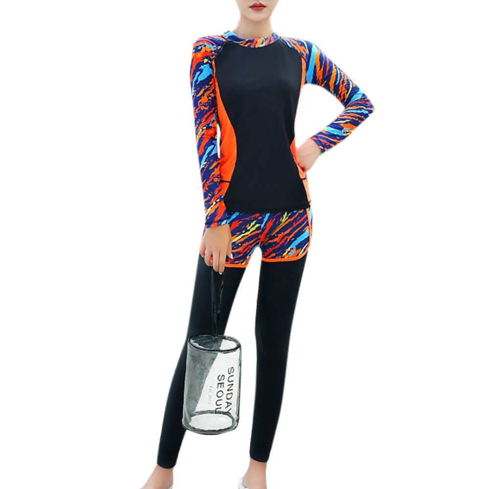 Full Body Women Swimming Wetsuit Diving suit Long Sleeve Rush Guard Diving Swimsuit Two piece Swimwear Women Surf Suit 2018 2018 new women s postpartum swimwear ladies sunscreen clothing ladies swimwear suit surf clothing diving clothing swimwear vy715