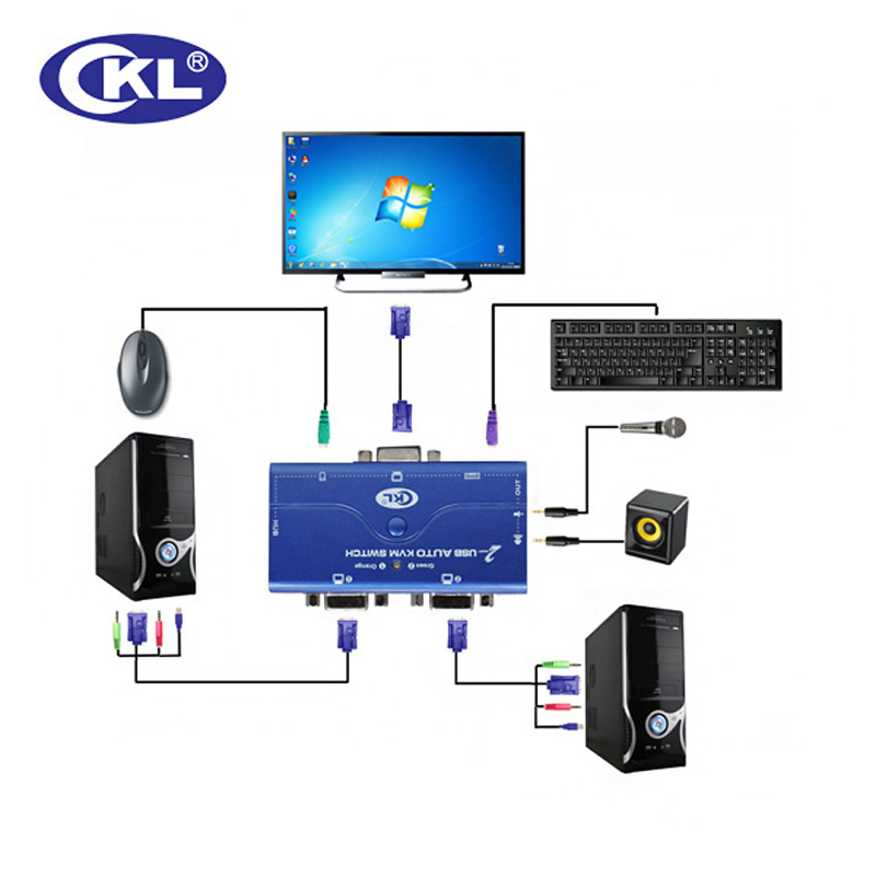 CKL 2 Port VGA KVM Switch USB 2 0 with Audio Function 2 Computers 1 Monitor ckl 2 port vga kvm switch usb 2 0 with audio function 2 computers  at fashall.co