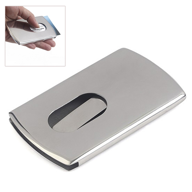 New 1 Piece Business Card Holder Stainless Steel Women Men Thumb Slide Out Pocket Id Banks
