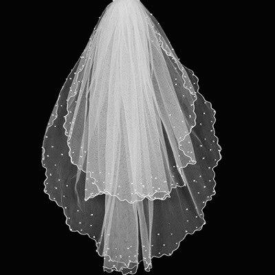 Voile Mariage 1.5M Lace Edge Short Wedding Veil with Comb Two Layers Tulle Bridal Veil Cheap Wedding Accessories Veu de Noiva