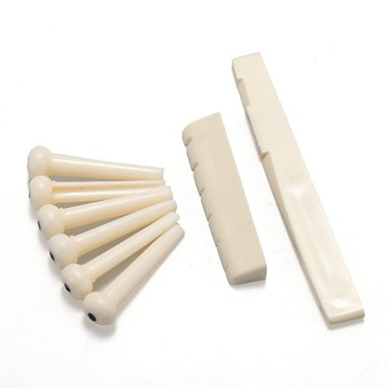 New 6 Bridge Pins + Saddle + Bridge Saddle Bone / Bone Acoustic Guitar White