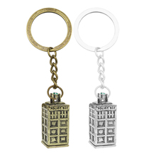 Retro Dr. Mysterious Keychain Doctor Who Tardis Phone Booth Police Box House Key Chain Movie Jewelry Men and Women Keyring Gifts цена и фото