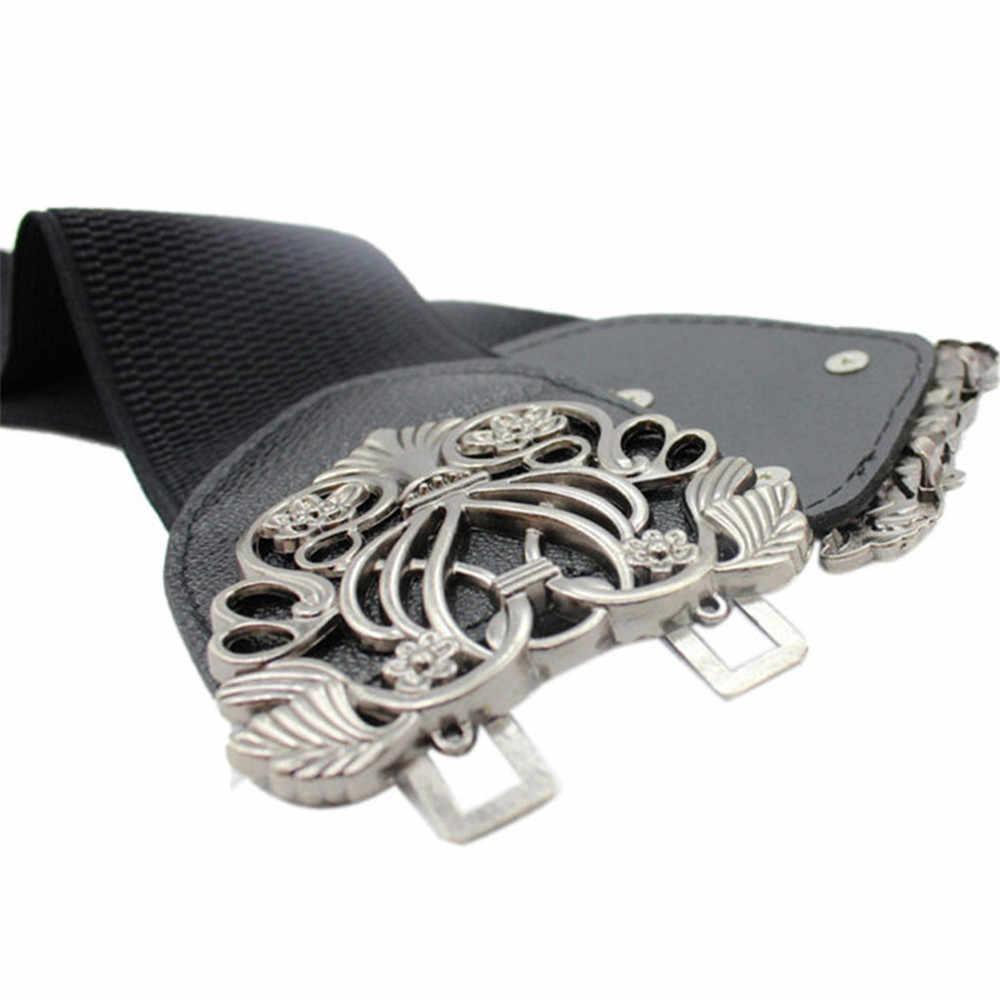 Acessórios de roupas de couro flor cinto de cintura feminino 65cm de largura cinto elástico para mulheres menina vintage cintas design exclusivo presente
