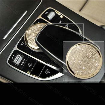 Gold Diamond Style Center Buuton Switch Case Trim For Benz GLC Class X205 16-17