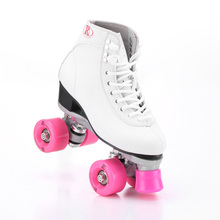 RENIAEVER Roller Skates Double Line Skates White Women Lady Model Adult F1 Racing 4 Wheels Two line Roller Skating Shoes Patines