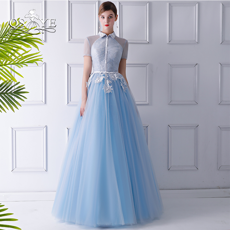 QSYYE 2018 Vintage Formal Evening Dresses High Neck Lace Tulle Floor Length Long Prom Dresses Party Gown Custom Made