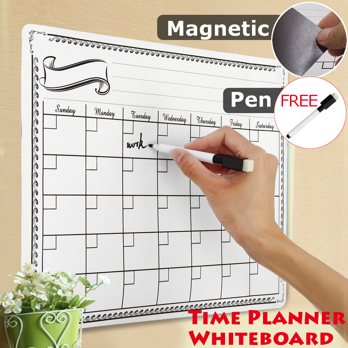 Magnet Plan Whiteboard Flexible Fridge Magnetic Refrigerator  Board Waterproof Drawing Message Board 42X30CM