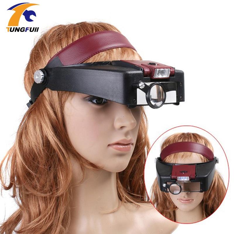 10X Headband Magnifying Glass Eye Repair Magnifier LED Light 1.0/1.5/3.5/10X 4PC Glasses Loupe Optical Lens