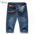 Hombres Pantalones Vaqueros Cortos Rectos Hombres Overol de Mezclilla Pantalones Cortos de Cintura Alta de Gran Tamaño 28-42 Clásico Del Verano Casual Jeans Masculino Azul S117