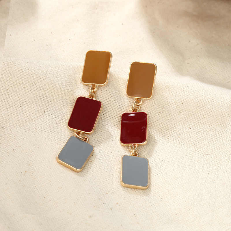 Koreański Trendy kolorowe kolczyki geometryczne kwadratowe spadek kolczyki dla kobiet długie oświadczenie kolczyki moda biżuteria 2019 dopasowanie/kolczyki punktowe