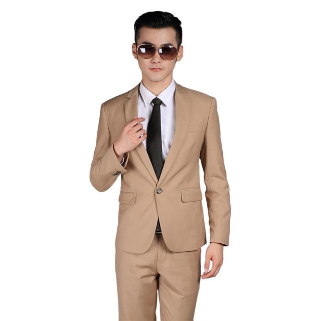 2016 Mais Recente Projeto Dos Homens ternos (Jacket + Pants + Tie + Vest) Cor Bege Slim Fit Festa Formal Jantar de negócios Clássico Casuais Blazer
