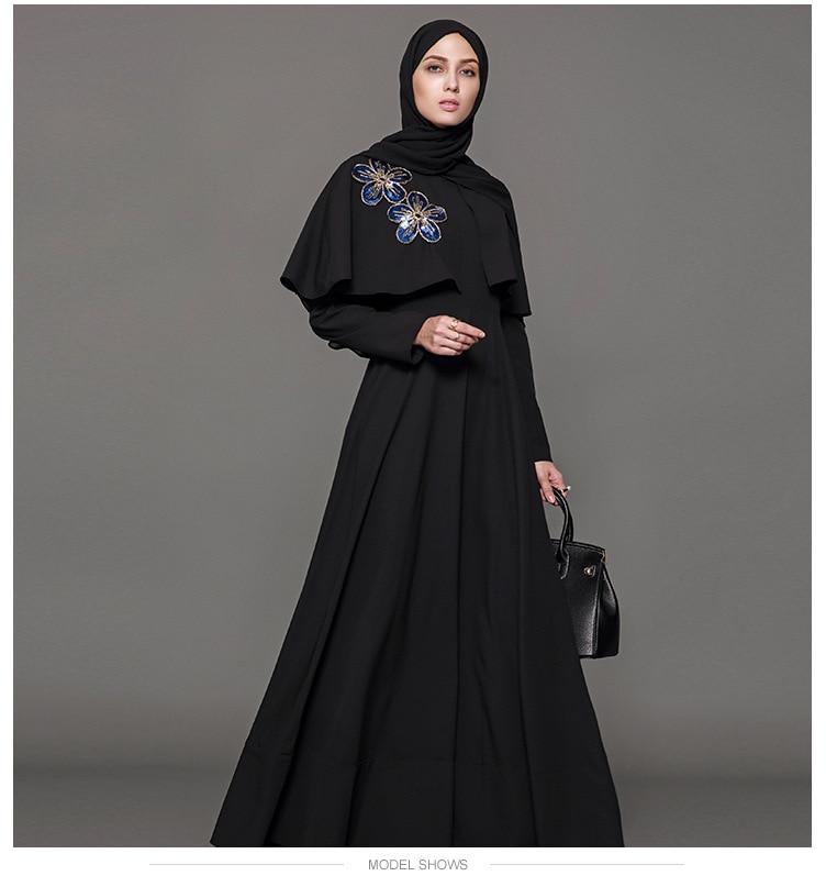 Muslim Dress Abaya Embroidery Cloak Kimono Jilbab Robe Gowns ...