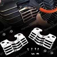 L/R FINNED SLOTTED HEAD BOLT SPARK PLUG COVERS FOR HARLEY TOURING ELECTRA STREET GLIDES ROAD KINGS 99 14 13 12 11 10 09 08 07 06
