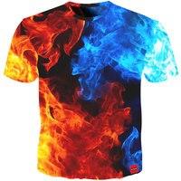 Cloudstyle Новое поступление 3D футболка Для мужчин одежда 2018 синий и красный цвета огонь 3D полный Модные принты повседневные футболки летние топ...