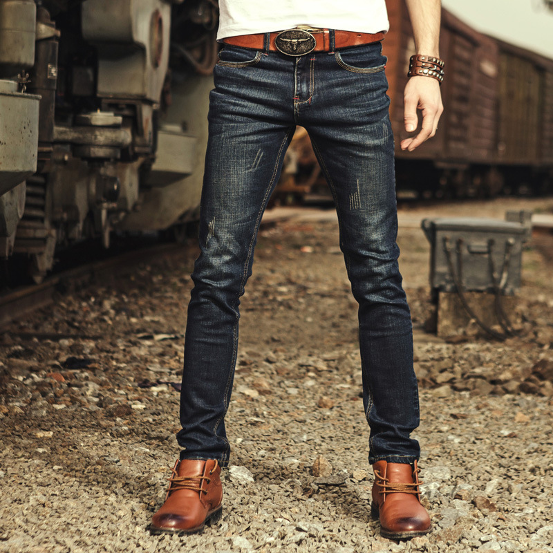 Logo Brand Mens Jeans High Quality Stripe Slim Dark Blue Biker Jeans For Men Fashion Designer Denim Jeans Men Fc2170 Fear Of God 2017 fashion patch jeans men slim straight denim jeans ripped trousers new famous brand biker jeans logo mens zipper jeans 604