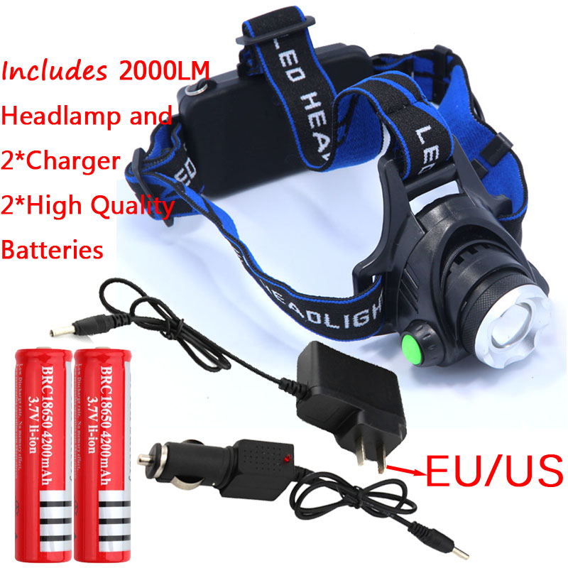 Zoomable CREE XML-T6 Headlight T6 headlamp LED Head Lamp Rechargeable led zoom head light + 2 x 18650 battery + AC & Car charger led headlamp cree xm l t6 led 2000lm rechargeable head lamps headlights lamp lights use 18650 battery ac charger head light
