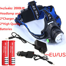 Zoomable XML-T6 Headlight T6 headlamp LED Head Lamp Rechargeable led zoom head light + 2 x 18650 battery + AC & Car charger(China)
