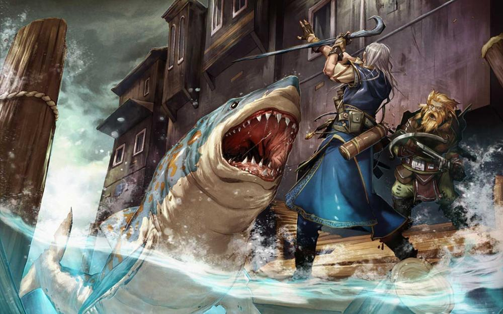 Piers зданий Fantasy арт акул работа арбалеты Pathfinder 4 размера изображения холст печати плакатов