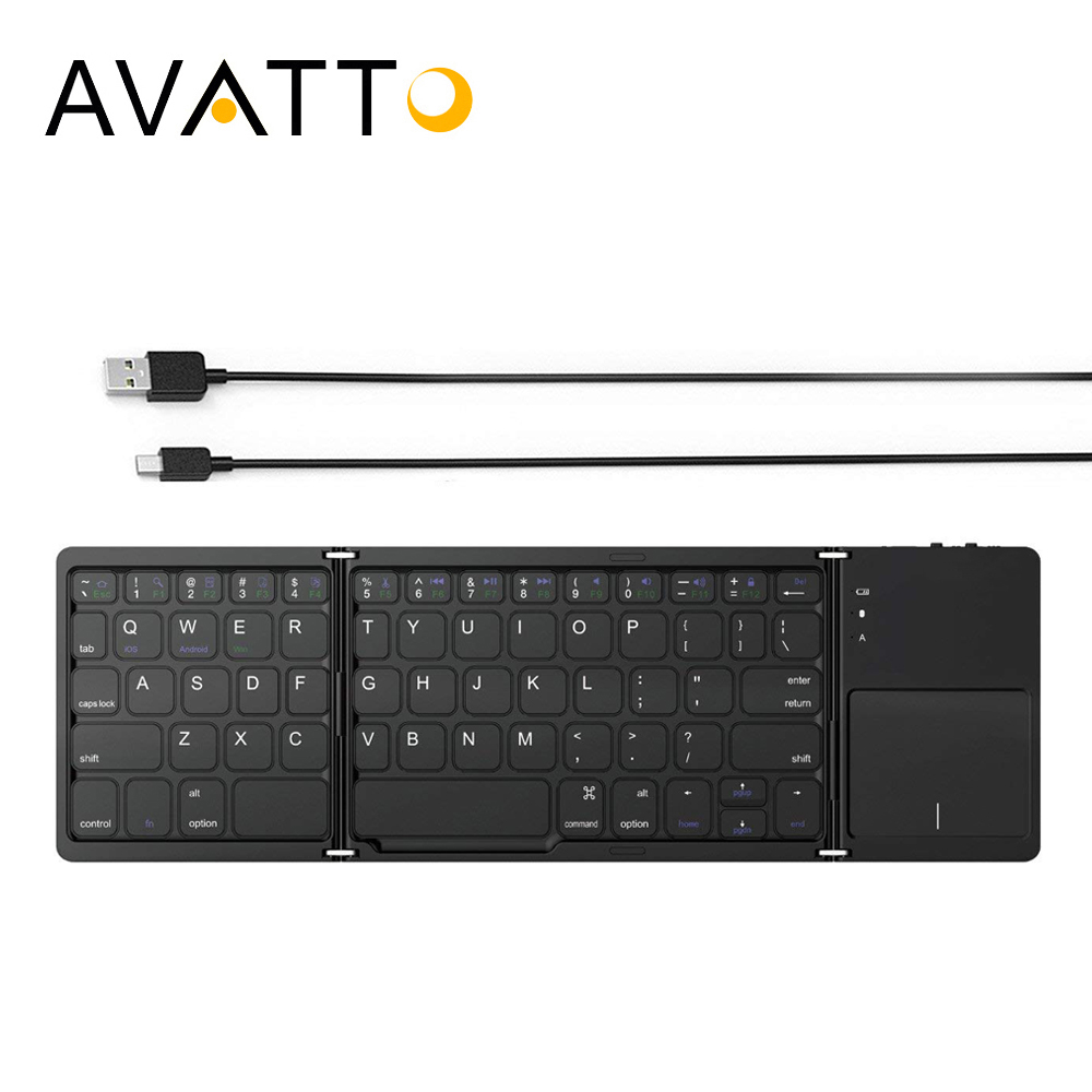 AVATTO B033+ Folding Mini Keyboard Bluetooth Foldable Wireless Keypad with Touchpad for Windows,Android,ios Tablet ipad Phone ipazzport bluetooth keyboard with touchpad for ios android windows tablet for ipad air ipad pro iphone x wireless keyboard
