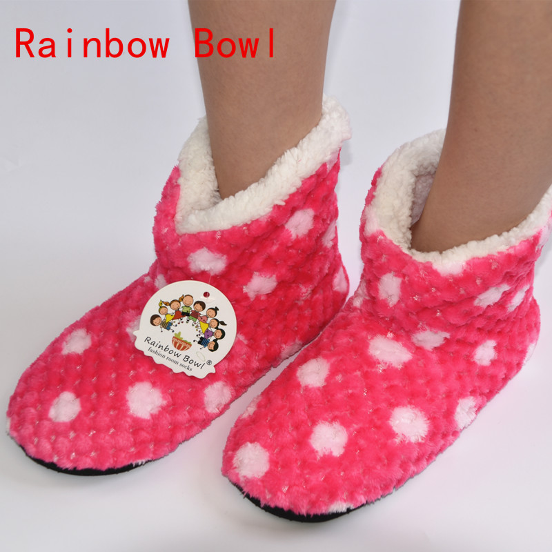 Rainbow Bowl Free Shipping New Winter Warm Plush Home knee  Slippers Shoe Women Soft Bottom Floor Socks House   Indoor Slipper 2016 winter new soft bottom solid color baby shoes for little boys and girls plus velvet warm baby toddler shoes free shipping