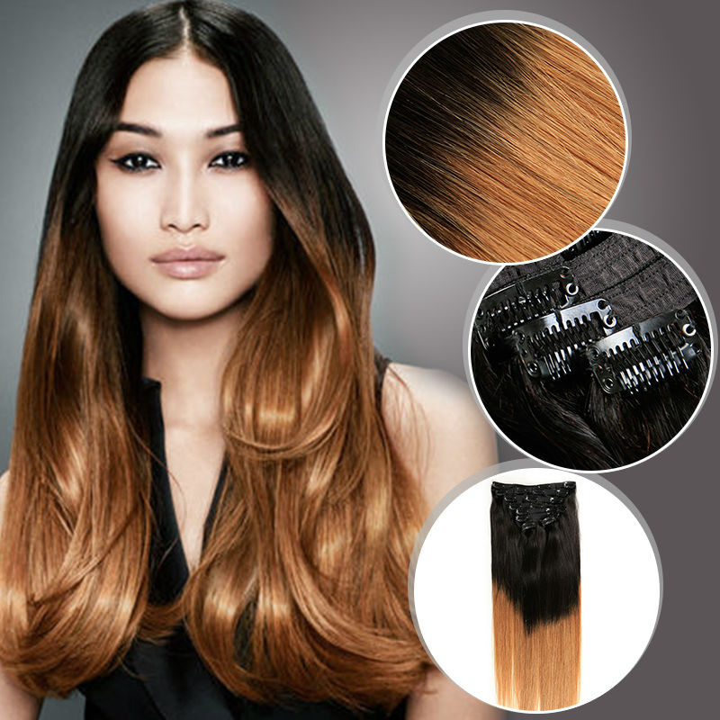 Clip In Virgin Peruvian Human Hair Extensions 140g/pc Straight Ombre Clip Hair Extensions 100% Cabelo Humano Tic Tac Ali Beauty