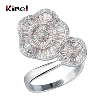 Kinel Luxury Pink Love Heart Zircon Rings For Women 925 Sterling Silver Engagement Accessories Jewelry Christmas