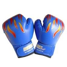 цена на Kids Children Boxing Gloves Professional Flame Mesh Breathable PU Leather Flame Gloves Sanda Boxing Training Glove GMT601