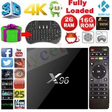 Últimas X96 2G/16G Android 6.0 TV BOX Amlogic S905X Quad Core Wifi KODI 16.1 4 K Smart Tv box Media player Set Top Box + Teclado