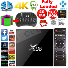 Latest X96 2G/16G Android 6.0 TV BOX Amlogic S905X Quad Core Wifi KODI 16.1 4K Smart Tv box Media player Set Top Box +Keyboard