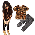 Girls Clothes Leopard Pattern T Shirt+Leggings Kids Clothing Sets Short Sleeve Leopard print Top Skinny Pants Girls Summer Suit