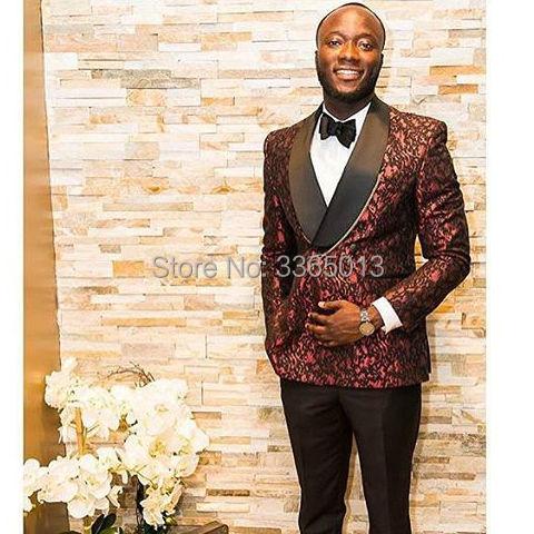 Trajes de doble botonadura hombres 2018 recién llegados Borgoña Blazer  pantalón negro trajes de boda para 79da6f6f045f