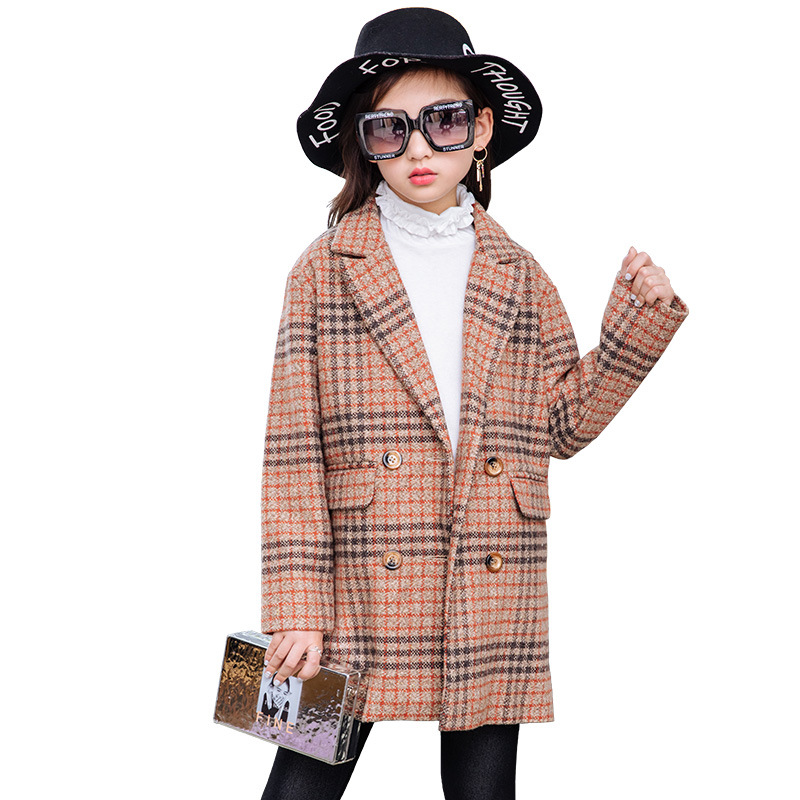 Children's clothing girls coat 2018 new autumn and winter fashion woolen children's plaid retro long elegant woolen coat children s jacket 2018 new autumn and winter boys woolen coat fashion plaid children s long suit collar collar woolen coat
