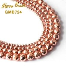 AAA Naturais Contas De Pedra Facetada Rose Gold Hematita Beads Para Fazer Jóias 15 polegadas 4/6/8/ 10mm Rodada Diy Pulseira Acessórios