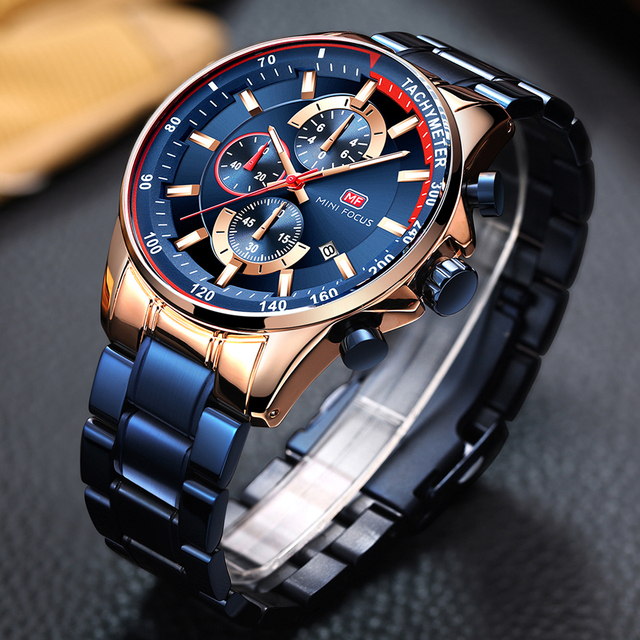 MINI FOCUS Luxury Brand Men Watches Stainless Steel Fashion Men's Wristwatch Quartz Watch Mens Waterproof Relogio Masculino Blue 4