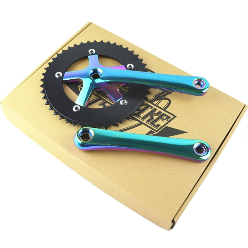 Wholesale fixed gear bike crank set Track Bicycle Chain wheel Single 46 T single bike crank 170 mm aluminum Fixed Gear Bike aluminum alloy bicycle crank chain wheel mountain bike inner bearing crank fluted disc mtb 104bcd bike part