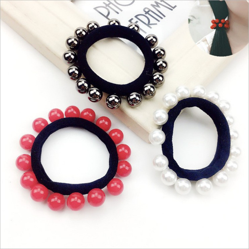 1PCS Fashion All Beads Elastic Hair Bands Toys For Girls Handmade Bow Headband Scrunchy Kids Hair Accessories For Women 2018