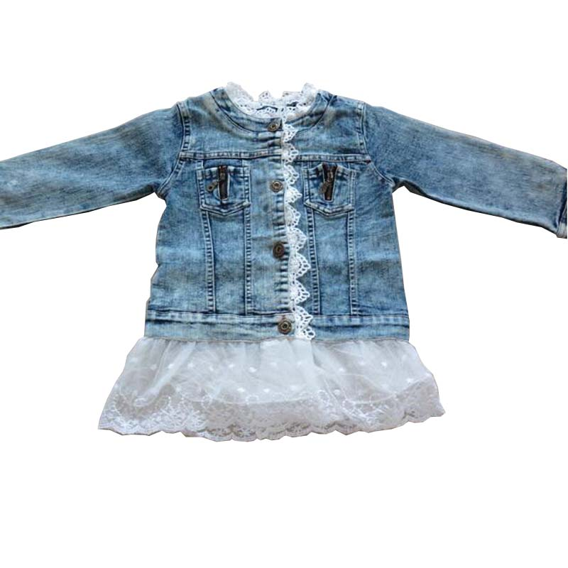 Kleine Mädchen Jean Jacke Kinder Mode Denim Solide Volle Hülse Oberbekleidung Kinder Mädchen Frühling Herbst Mantel spitze blume für 2-11 Y