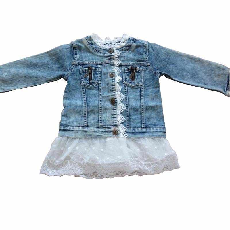 Little Girls Jean Jacket Children Fashion Denim Solid Full Sleeve Outerwear Kids Girls Spring Autumn Coat lace flower for 2-11 Y
