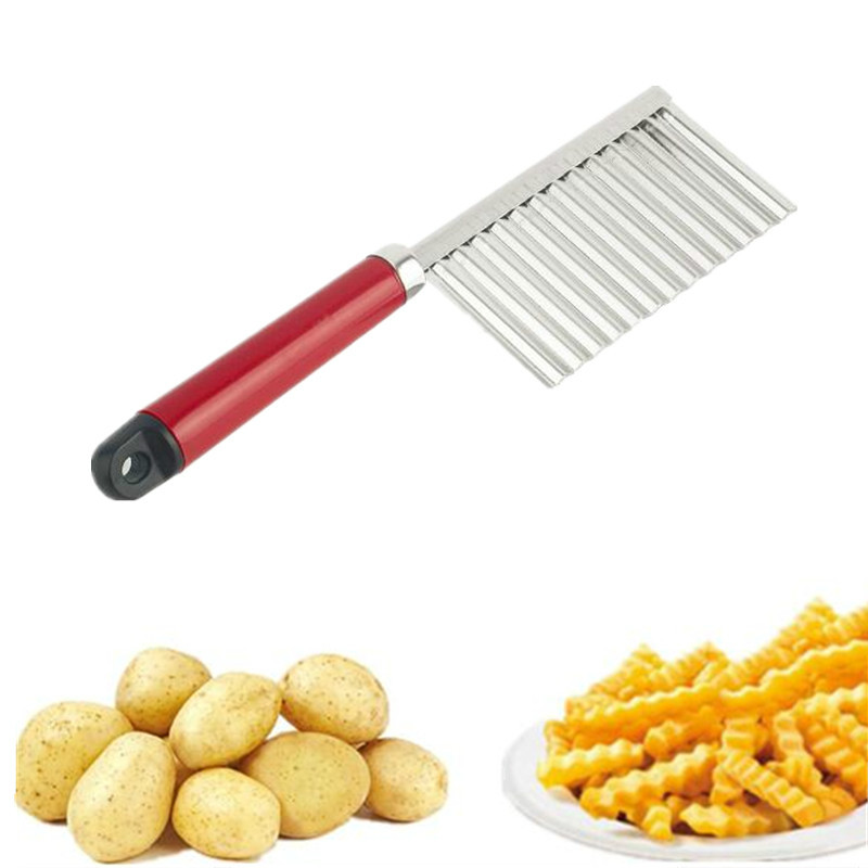 1 pc Potato Wavy Cutter Stainless Steel Vegetable Fruit Cutting Knife Potato Cucumber Carrot Waves Cutter Cooking Tool