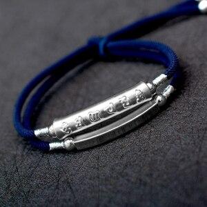 Image 2 - 2019 ręcznie pleciona bransoletka dla mężczyzn 925 Sterling Silver om mani padme hum grawerowane Bend urok podwójna warstwa szczęście Rope Chain
