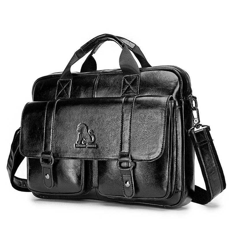 Genuine Leather Briefcase Men Laptop Bag High Quality Men Messenger Bags Business Male Briefcases Sac Homme WBS722