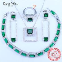 Luxury High Quality Bride Wedding Jewelry Sets 925 Silver Square Princess Cut Crystal Women Party Jewelry pendant earrings ring