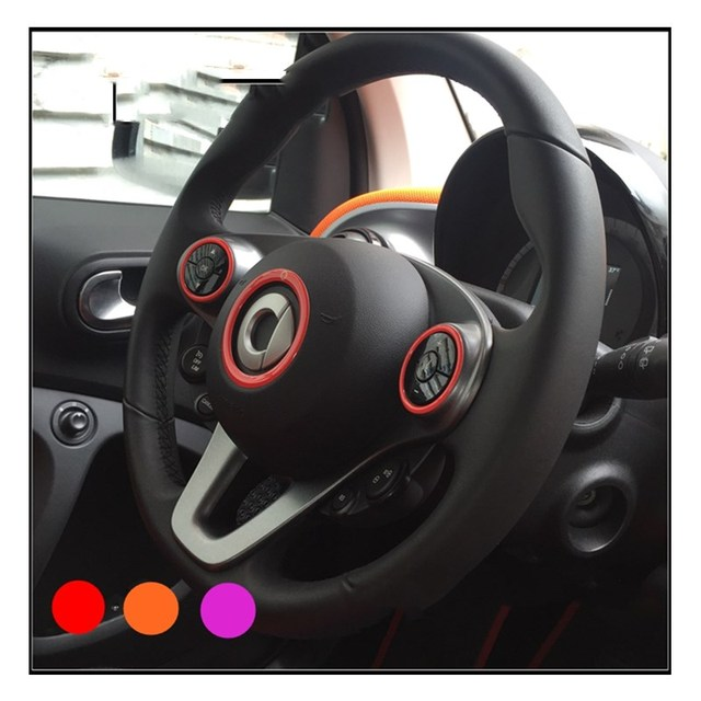 Rubber Steering Wheel Sticker For Mercedes Benz Smart Fortwo Car Accessories 2017 2016