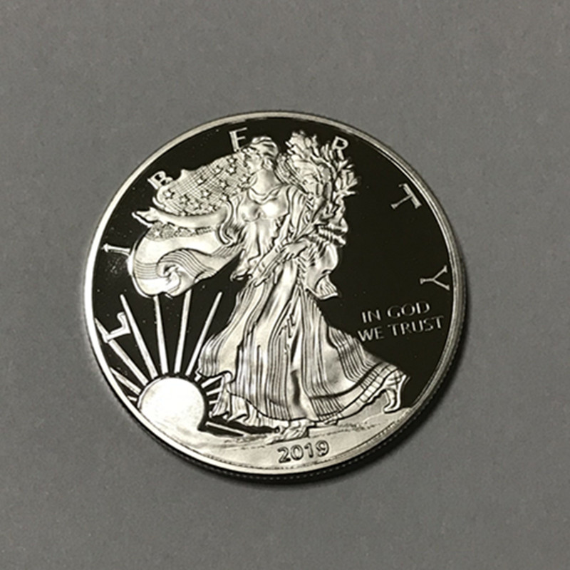 <font><b>50</b></font> pcs Non Magnetic 2019 freedom uncirculated coins silver plated badge ingot 40 mm eagle upside down souvenir decoration coin image
