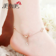 famous brand butterfly shape cartoon Fine Jewelry Genuine gold 925 silver Anklets Women Fashion Jewelry Anklet female simple