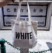 Korean style simple english letter print shoulder bag big space autumn WHITE print all match fresh canvas big bag