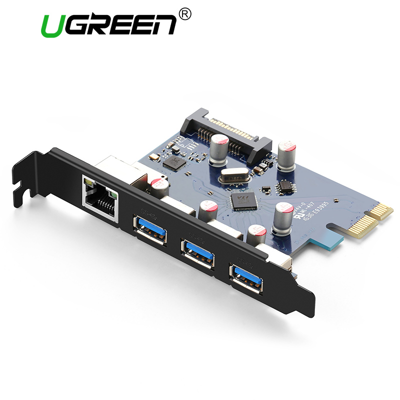 Ugreen PCI-E PCI E Express Riser Card 1X to 16X USB 3.0 HUB Gigabit Ethernet Adapter with 15Pin Power Supply PCI-E Extender Card