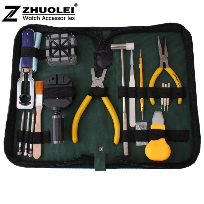 2014 New High Quality 18pcs/set Nylon Watch Case Opener Horologe Remover Adjuster Repair Tools Portable Handy Box Set Kit 2016 hot sale high quality practical table tool 18 sets repair kit watch set hours down the lower bottle opener belt