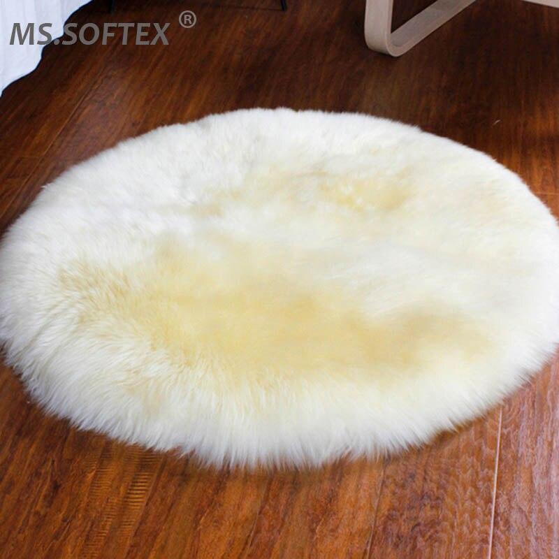 Tapis en peau de mouton australien MS. Softex tapis en fourrure de mouton véritable en forme ronde