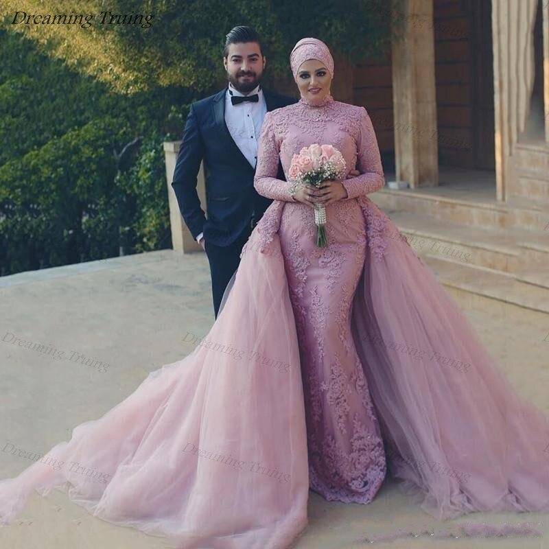 Muslim Lavender Wedding Dresses With Hijab Lace Appliques Saudi Arabic Detachable Train Long Sleeve High Neck Mermaid Bride Gown